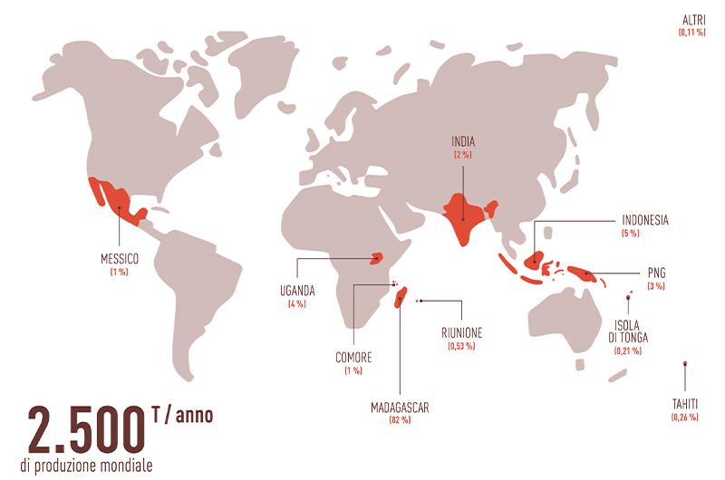 La produzione di vaniglia in tutto il mondo